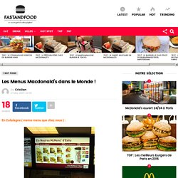 Les Menus Macdonald's dans le Monde !