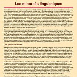 Les minorités linguistiques
