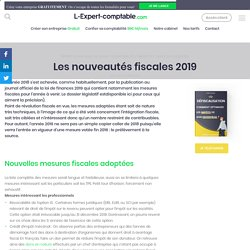 Les nouveautés fiscales 2019