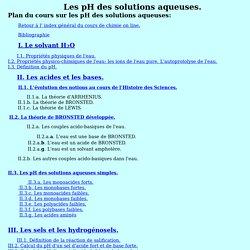 Les pH des solutions aqueuses