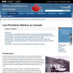 Les Premières nations au Canada