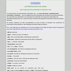 LES PRINCIPAUX MOTS DE LIAISON - COURS+EXERCICE