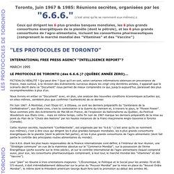 Les protocoles de Toronto 6.6.6.