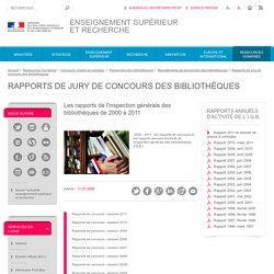 Les rapports de l'I.G.B. : 2000 à 2011