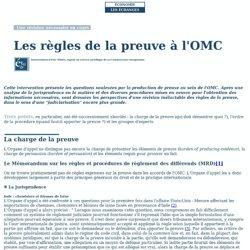Les règles de la preuve à l'OMC