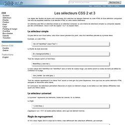 Les sélecteurs CSS 2 et 3