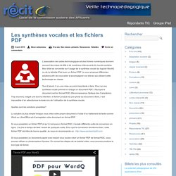 Les synthèses vocales et les fichiers PDF