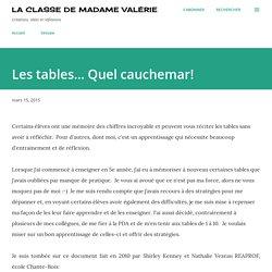 La classe de Madame Valérie: Les tables... Quel cauchemar!