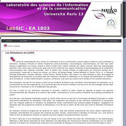 Les thématiques du LabSIC