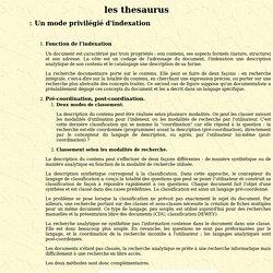 Les thesaurus