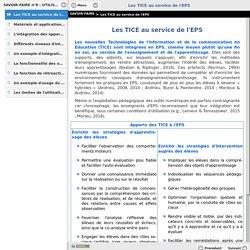 Les TICE au service de l'EPS