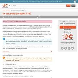 Les transactions avec MySQL et PDO