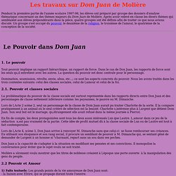 Les travaux concernant Dom Juan de Molière
