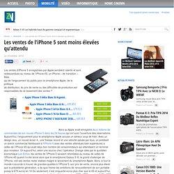 Les ventes de l'iPhone 5 sont moins élevées qu'attendu