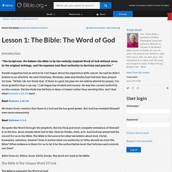 Lesson 1: The Bible: The Word of God