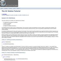 C# Station C# Tutorial Lesson 13 - Interfaces