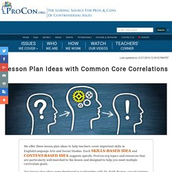 Lesson Plan Ideas with Common Core Correlations