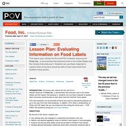 Lesson Plan: Evaluating Information on Food Labels