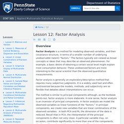 Lesson 12: Factor Analysis
