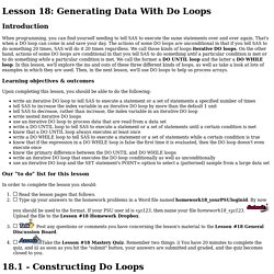 Lesson 18: Generating Data With Do Loops