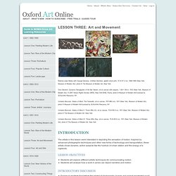 LESSON THREE: Art and Movement in Oxford Art Online