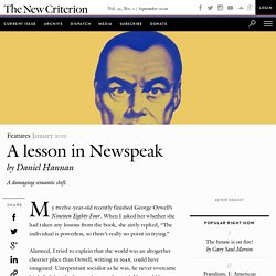 A lesson in Newspeak by Daniel Hannan