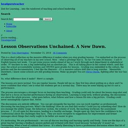 Lesson Observations Unchained. A New Dawn.