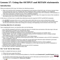 Lesson 17: Using the OUTPUT and RETAIN statements