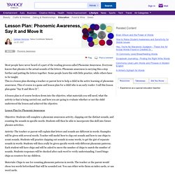 Lesson Plan: Phonemic Awareness, Say it and Move It