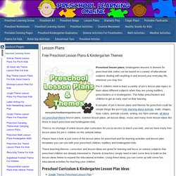 Lesson Plans - Preschool Learning Online