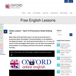Video Lesson - How To Pronounce Verbs Ending -ed