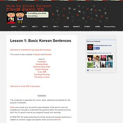 Lesson 1: Basic Korean sentences and Korean particles