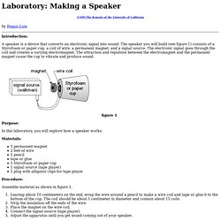 Lesson Plan for Making a Speaker Laboratory
