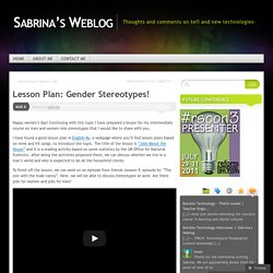 Lesson Plan: Gender Stereotypes!