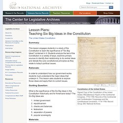 Lesson Plans: Teaching Six Big Ideas in the Constitution