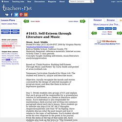 Lesson Plans: Self-Esteem through Literature and Music (Middle, Music)