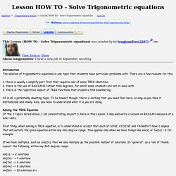 Lesson HOW TO - Solve Trigonometric equations