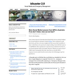 More Social Media Lessons from QPS in Australia: If we don't listen, how can we hear? « idisaster 2.0