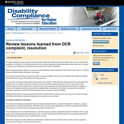 Review lessons learned from OCR complaint, resolution