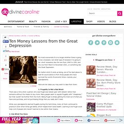 Ten Money Lessons from the Great Depression