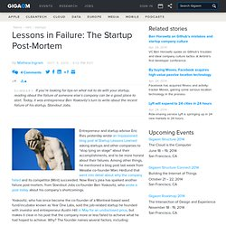 Lessons in Failure: The Startup Post-Mortem: Tech News «