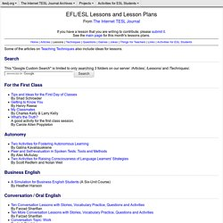 EFL/ESL Lessons and Lesson Plans from The Internet TESL Journal