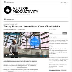 A Life of Productivity – The top 10 lessons I learned from A Year of Productivity