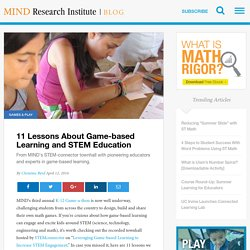 11 Lessons About Game-based Learning and STEM Education