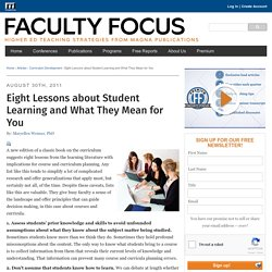 Eight Lessons about Student Learning and What They Mean for You - Faculty Focus