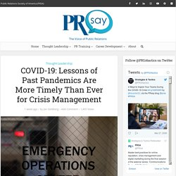 COVID-19: Lessons of Past Pandemics Are More Timely Than Ever for Crisis Management – PRsay