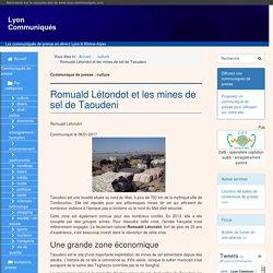 Romuald Létondot et les mines de sel de Taoudeni - Lyon Communiqués
