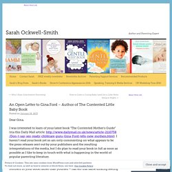 An Open Letter to Gina Ford – Author of The Contented Little Baby Book