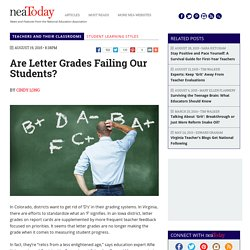 Are Letter Grades Failing Our Students?