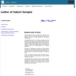 Letter of Intent Sample
